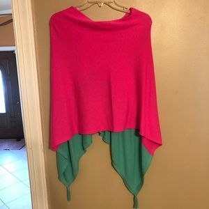 Lily Pulitzer green and pink kinnon wrap poncho